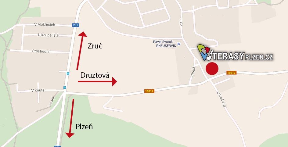 Terasové centrum Plzeň mapa
